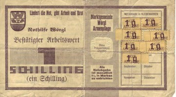 Wörgl bank note with stamps. Public Domain.