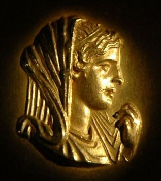 Roman medallion with Olympias