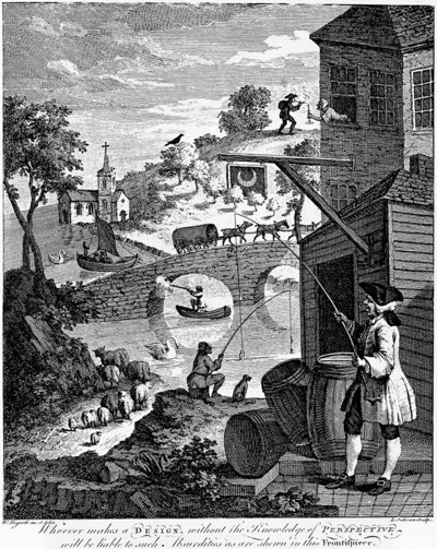 Satire on False Perspective. William Hogarth (1754).