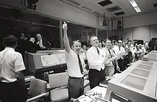 NASA mission control celebrating successful return of Apollo 13