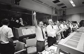 NASA mission control celebrating successful return of Apollo 13
