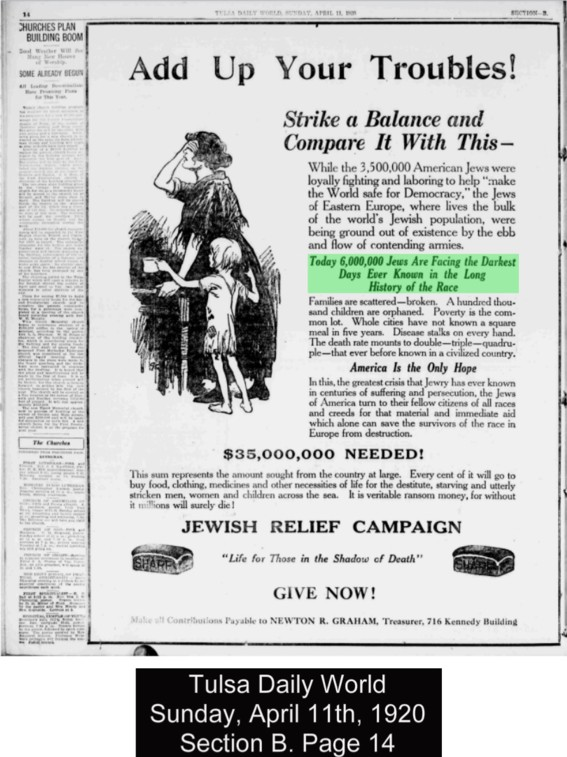 1920 Jewish relief campaign statement