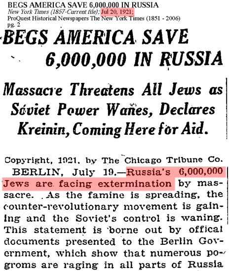 Massacre threatens 6,000,000 Jews in 1921