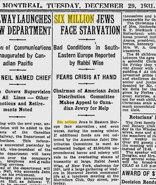 Six million Jews in Eastern Europe face starvation in 1931