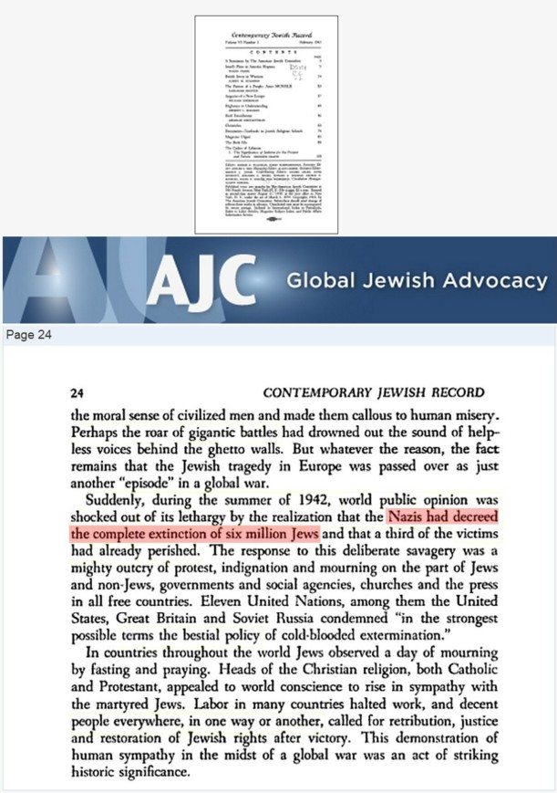 1943 American Jewish Committee claim