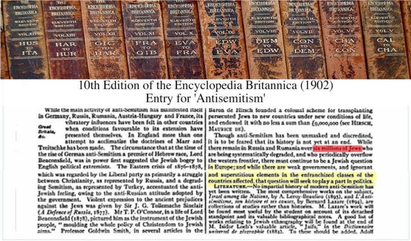 Entry on anti-Semitism of the tenth edition of the Encyclopedia Britannica