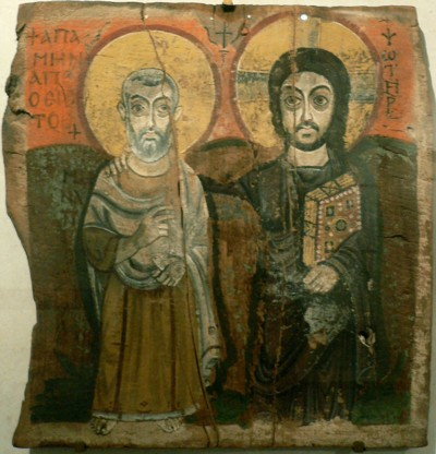 Jesus and Minas Coptic icon dating from 6th or 7th century